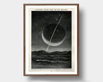 Saturn Moon View Astronomy Space Art Print Planet Graphic Science Geek Gift Wall Art
