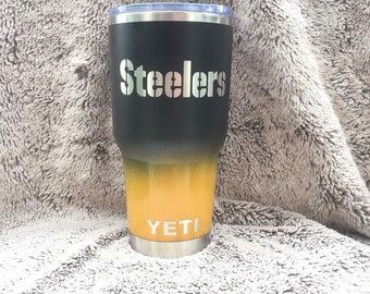 Custom Pittsburgh Steelers Yeti 30 oz Rambler Cup Powder Coated Ombre Black/Yellow Gold