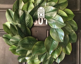 "18"" faux magnolia wreath, Fixer upper style wreath, Farmhouse wreath, Magnolia wreath, Summer wreath"