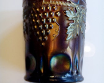 Carnival Glass Tumbler - Grape and Cable