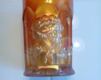 Carnival Glass Tumbler - Oriental Poppy
