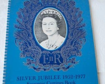 Silver Jubilee souvenir cuttings book, Queen Elizabeth II 1953-1977. Vintage scrapbook A4 album, crafts & creative use.
