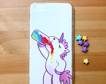 Unicorn drink miIk  clear iphone case 6 & 6 plus