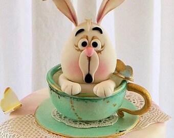 Fondant Alice in Wonderland - White Rabbit in a Teacup!