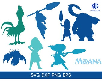 Disney Moana Silhouettes, Silhouette files,moana clip art,SVG files,png jpg eps,instant download, Disney Princess svg, moana svg, for cricut