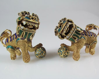 Antique Silver Gold cloisonné Foo Dog