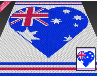 Australia Heart crochet blanket pattern; c2c, cross stitch; knitting; graph; pdf download; no written counts or row-by-row instructions