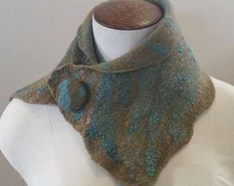 Gorgeous Wet Felted Merino Wool and Silk Neckwarmer