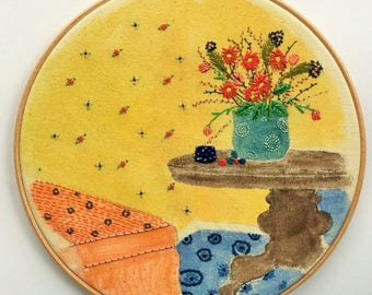 The Table, Embroidery Hoop Art, Wall Decor, Watercolours and Thread, Fibre Art, Embroidery Interiors
