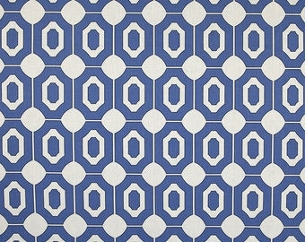 Linen Fabric By the yard Geo Royal Blue on  Ivory