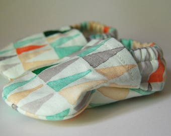 Handmade Spring/Summer Geometric Triangle Baby Soft Shoes/Slippers - 100% Organic Cotton - Tread, No Slip Sole Option (booties, shoes)