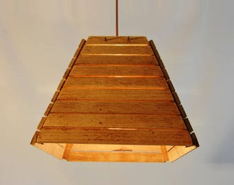 Wooden lamp shade made from recycled oak wood floor wood, LIZAH