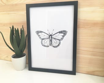 Black and White Butterfly Art Print With Frame Included