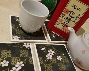 Free Shipping | Coasters | Ceramic Square Tile | Sakura Blossoms | Black | Gold
