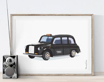 Black Taxi Cab, London Taxi, Prints for Toddlers, Taxi Print, Boys Room Decor, Vintage Car, Transportation Wall Art, Father's Day Gift