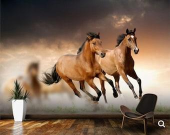 animals wallpaper, horses wallpaper, wildlife wall mural, self-adhesive, hors wallpaper, peel and stick, horses wall decal, wild horses