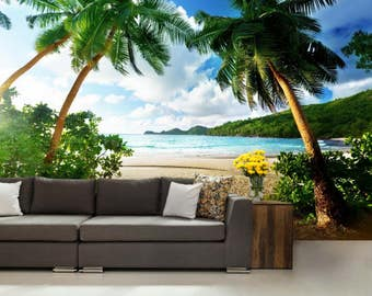 Tropical beach wall mural, sea wall mural, beach wall decal, tropical wallpaper, ocena wallpaper, palm wallpaper, wall mural