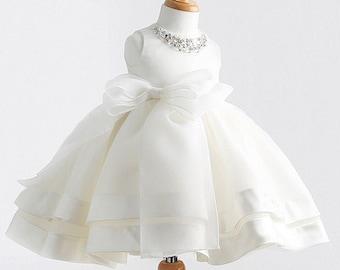 Ivory Tulle Girl Dress, TuTu Dress,White Flower Girl Dresses, Baby Kids Birthday Party Gift, Junior Wedding Bridesmaid, Christening wear