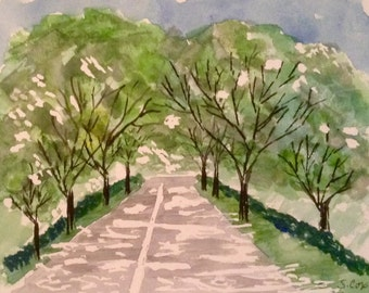 Original Watercolor landscape, Nature art, Whimsical Tree painting, Blue and Green, Street painting, canopy of trees, modern original