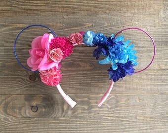 Princess Aurora Minnie Ears/ Sleeping Beauty Headband/ Floral Wire Disney Ears/ Make It Pink/ Make It Blue