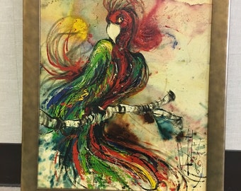 Vintage oil painting on canvas, bird, impressionism - Hot Rumba