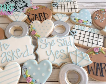 Shabby Chic Engagement Decorated Cookies - One Dozen