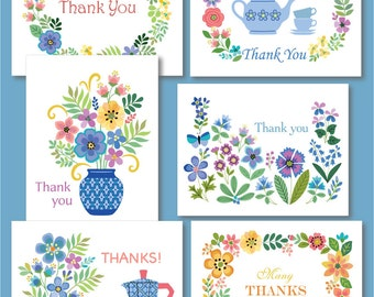 Set of Six Floral Thank You Cards