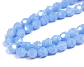 50/pc Light Blue Coral Opaque Czech 6mm Fire-polished Faceted Round Beads