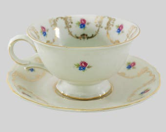 Vintage Teacup Cup and Saucer, Bavarian Porcelain, Zeh Scherzer Co, German, China, Tea Party, Bridal Luncheon, Wedding, Replacements