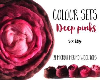 Wool tops - Pink 21 micron Merino wool - shade selection - 5 x 20g/0.7oz - (100g/3.5oz) - DEEP PINKS