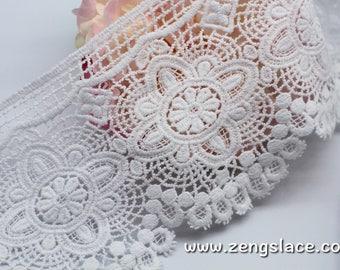 White lace trim with scalloped edge/Cotton Lace/Antique Lace/Vintage Lace/Lace Curtain Trim/Venice Lace/lace by the yard, VL-30-WH