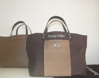 """1"" in black cotton canvas and leather bag taupe"