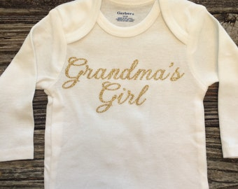 Grandmas Girl, Baby Girl Onesie, Baby Shower Gift, Baby Girl Gift, Infant Clothing, Cute Baby Gift, Newborn Onesie
