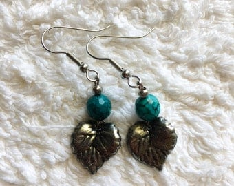 Turquoise Leaf Drop Earrings