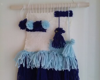 Wall hanging blue coloured weave