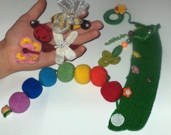 Toys for kids. Developing toy crocheting. peas. vegetable. Food. A doll. A gift to a child.