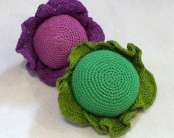 1 Pcs - Crochet cabbage, crocheted vegetables, teether teeth, play food, kitchen decoration, eco-friendly Baby toys(6m+)