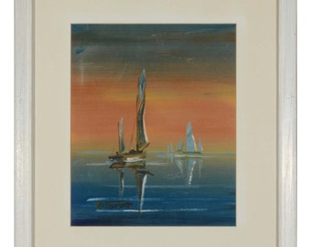 Eugen La Foret 2 paintings on silk boats
