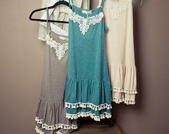 Crochet Detail Slip Dress