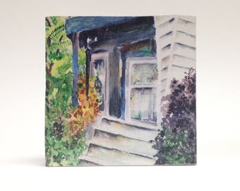 READY TO SHIP! Watercolor art print mounted on wood panel — ready to hang — House in the Woods, Mineral Point, Wisconsin