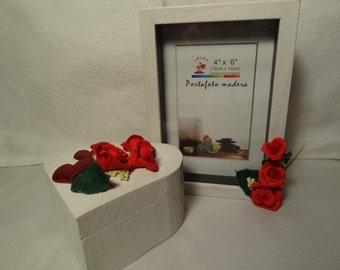 photo frame decorated with roses