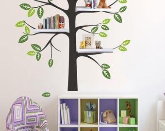 Shelf Tree Decal - Tree Decal With birds - bird Nursery Theme - Shelf Organizer Decal - Tree Bookshelf - wall decal tree silhouette H864