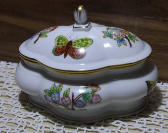 Hungarian Herend Porcelain Victoria Covered Box, Bonboniere, Flowers, Butterflies, Gold, Floral,Vintage