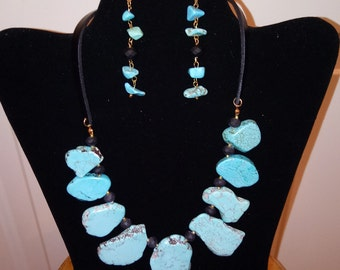 Turquoise Slab, Matte Black  Faceted Beads, and Black Leather Cord! Necklace and Earring Set!