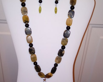 Chinese Turquoise and Black Onyx Necklace and Earring Set!