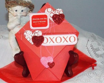 Hugs and Kisses for Valentines - handmade gift card holder for him or her, comes with a matching organza pouch - ORIGAMI