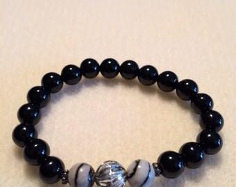 Men's Onyx &  Picasso Jasper bracelet