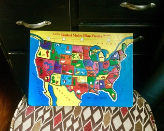 Vintage United States Map Puzzle Built-Rite Inlaid