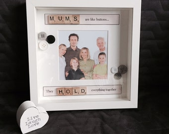 Personalised 'Mum's are like buttons' Scrabble Print with Frame