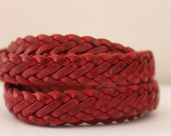 leather braided 14 mm, sold by 20 cm, red bordeaux